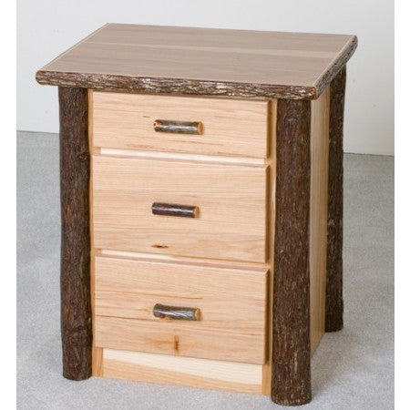 Viking Hickory 3 Drawer Nightstand in Clear Finish