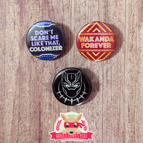 Black Panther inspired buttons - pinback or magnets