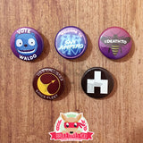 Black Mirror inspired buttons - pinback or magnets
