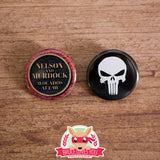 Daredevil & Punisher inspired buttons - pinback or magnets