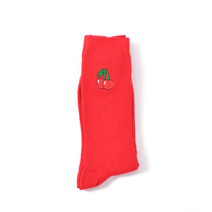 Crew socks with cherry embroidery in red
