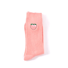 Pink peach embroidery crew socks for men and women
