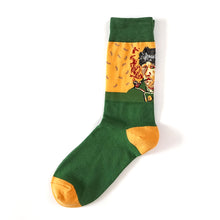 Grass green and yellow Van Gogh self portrait patterned crew socks