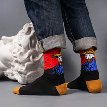 Red Van Gogh self portrait patterned crew socks