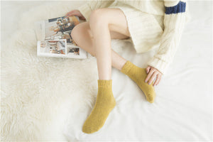 Yellow rabbit hair and wool blend socks