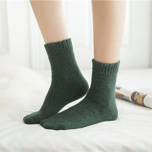 Green rabbit hair and wool blend socks