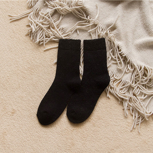 Black rabbit hair and wool blend socks