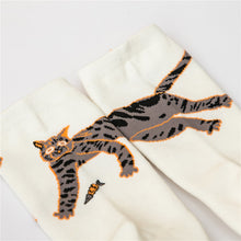 Cat and fish pattern cotton socks for women socks