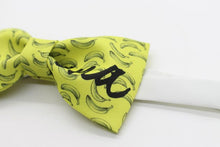 Banana printed yellow fun bow tie