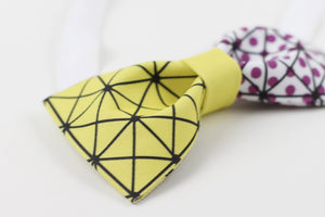Bright yellow and pink cubism bow tie