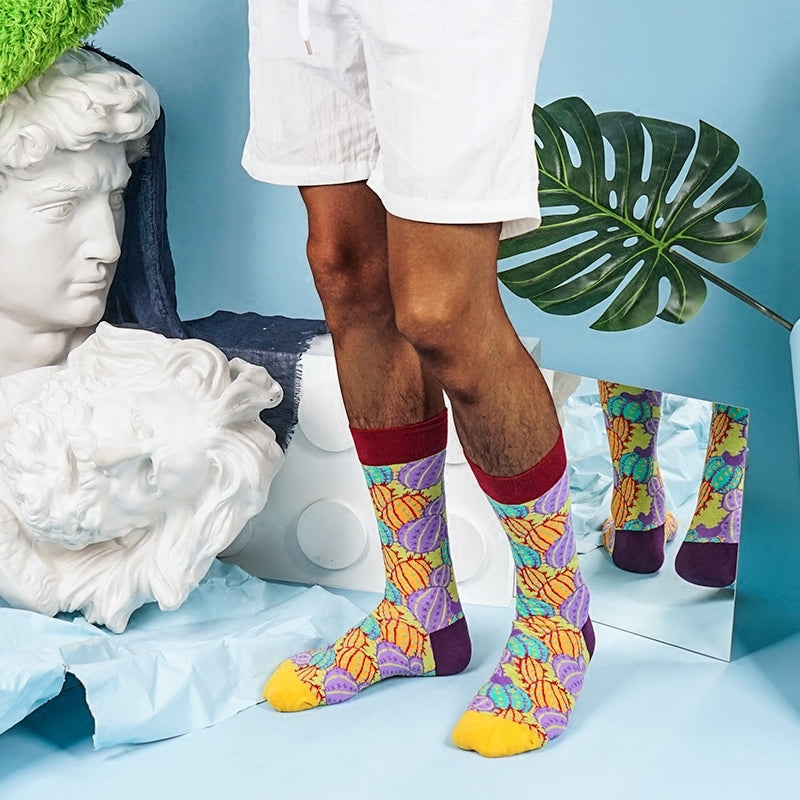 Bright cactus knit patterned crew men socks