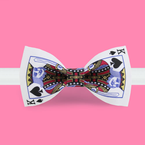 King of spade printed bow tie