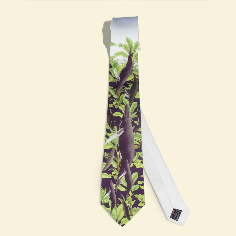 Tropical jungle printed necktie