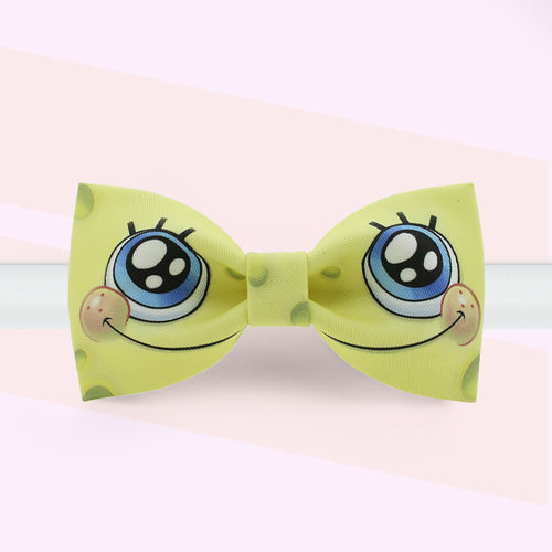 SpongeBob eyes printed yellow bow tie