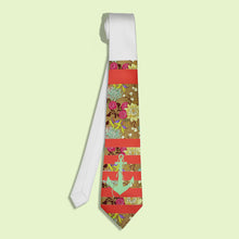 Floral and anchor printed red necktie