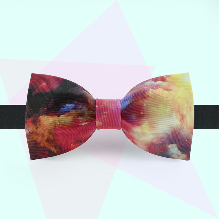 Gold clouds printed bow tie