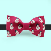 Christmas bow tie with snowman polka print