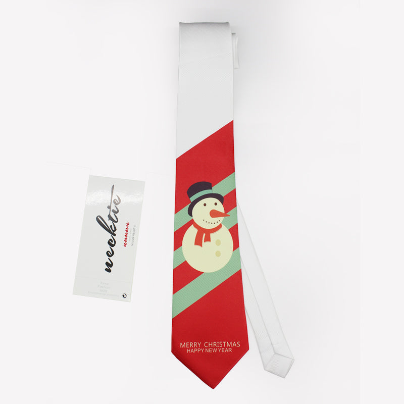 Snowman printed red necktie for Christmas