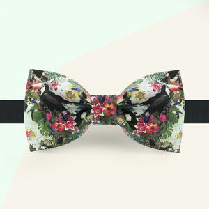 Tropical floral bow tie