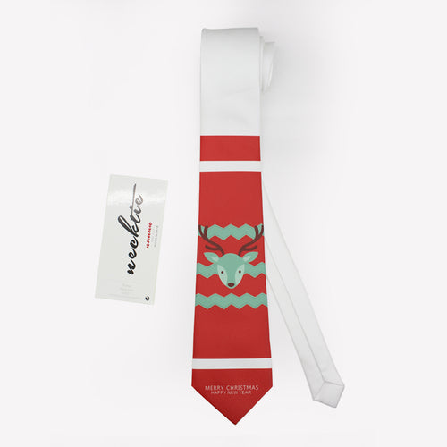 Reindeer printed red necktie for Christmas