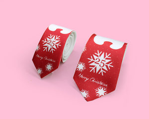 Bear and snow printed red necktie for Christmas