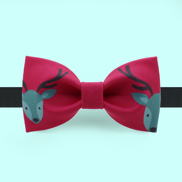 Christmas bow tie with reindeer print