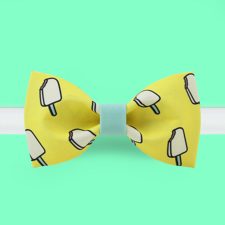 Pink ice pop printed yellow bow tie