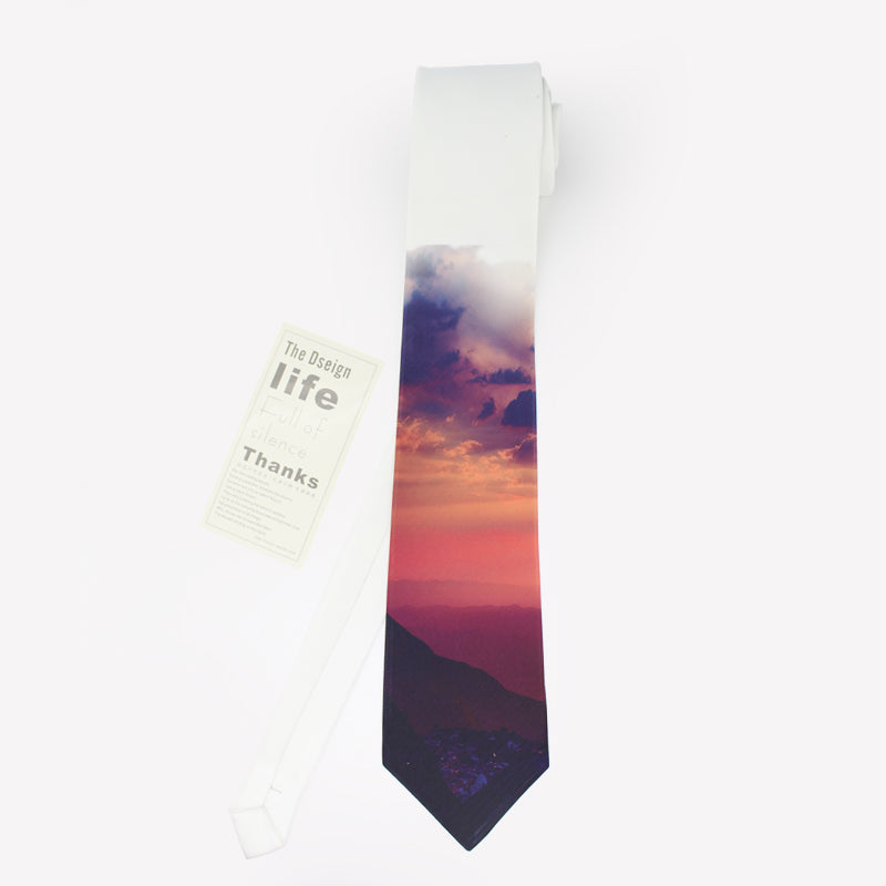 Sunset over mountain landscape printed necktie