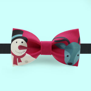 Christmas bow tie with snowman and reindeer print