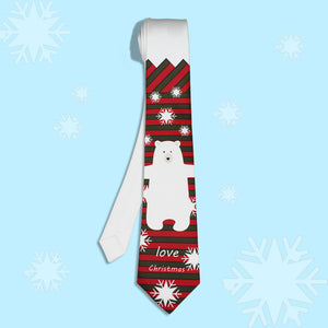 Red bear and snow printed necktie for Christmas