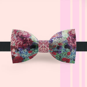 Purple hued floral bow tie