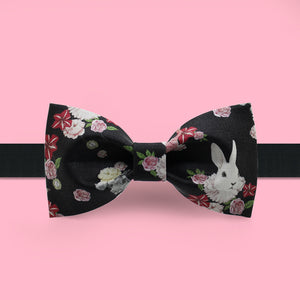 Rabbit and flora printed black bow tie
