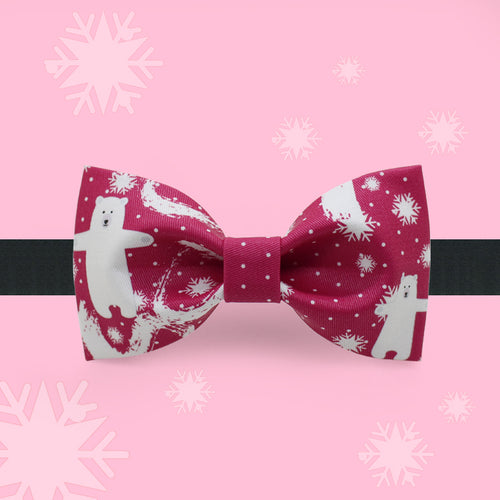 Bears and white snow printed red Christmas bow tie