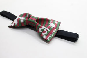Christmas bear and snow printed bow tie