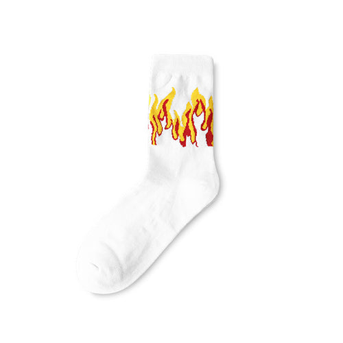 White fire patterned crew socks