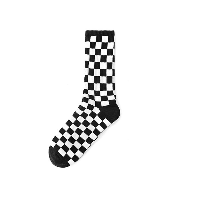 Black and white checks crew socks