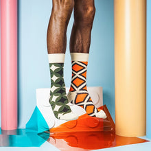 Orange plaid unisex crew socks