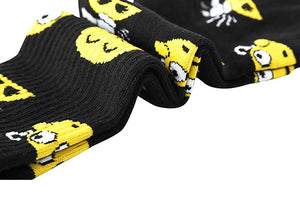 Black emoji patterned crew socks