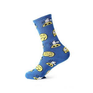 Blue emoji patterned crew socks