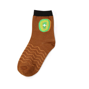 Kiwi patterned brown ankle socks
