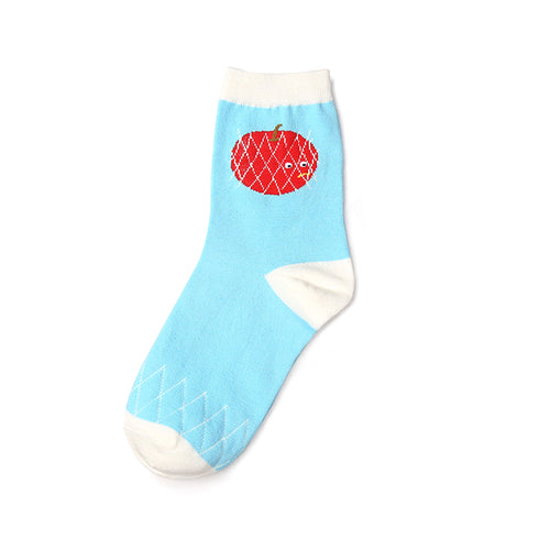 Red apple patterned blue ankle socks