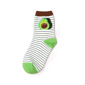 Avocado and stripes ankle socks
