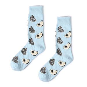 Light blue oyster patterned cotton crew socks for men and women