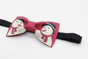 Christmas bow tie with snowman print