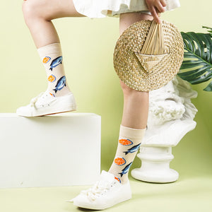 Salmon patterned cotton crew socks for men and women