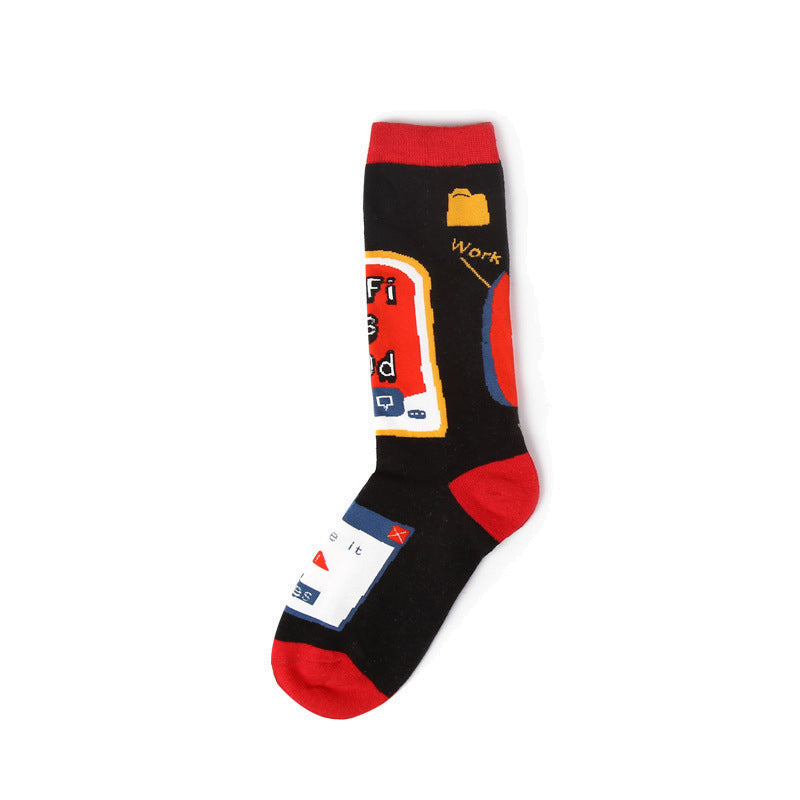 Black and red single crew sock for men and women