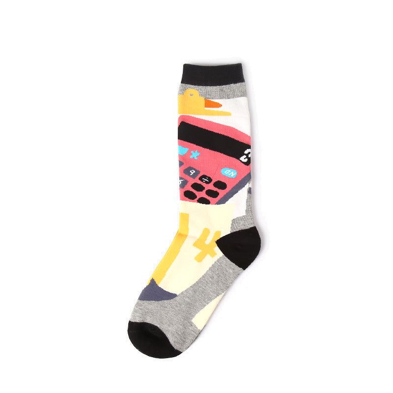 Bright colored crew sock for men and women with calculator pattern