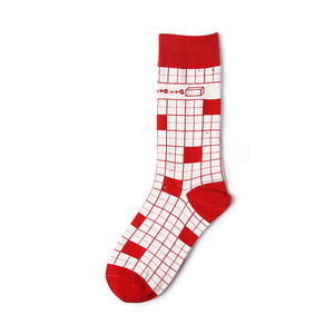 Red cotton crew socks for men and women with checks