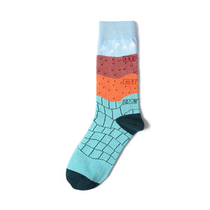 Cotton socks for men and women with Geology patterns in Chinese characters