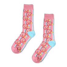 Pink polka noses patterned crew socks for men and women